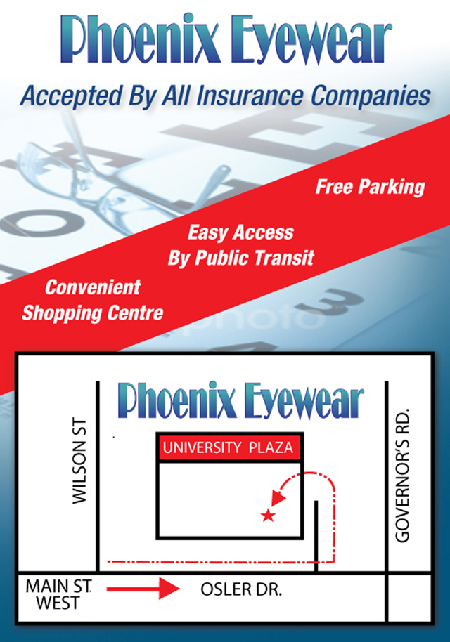 Phoenix Eyewear IN Dundas Directions TO Univeristy Plaza Location